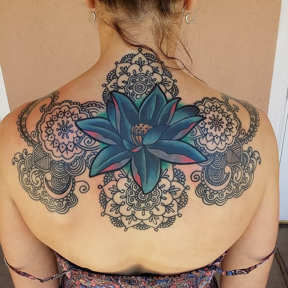 Colorful flower and linework