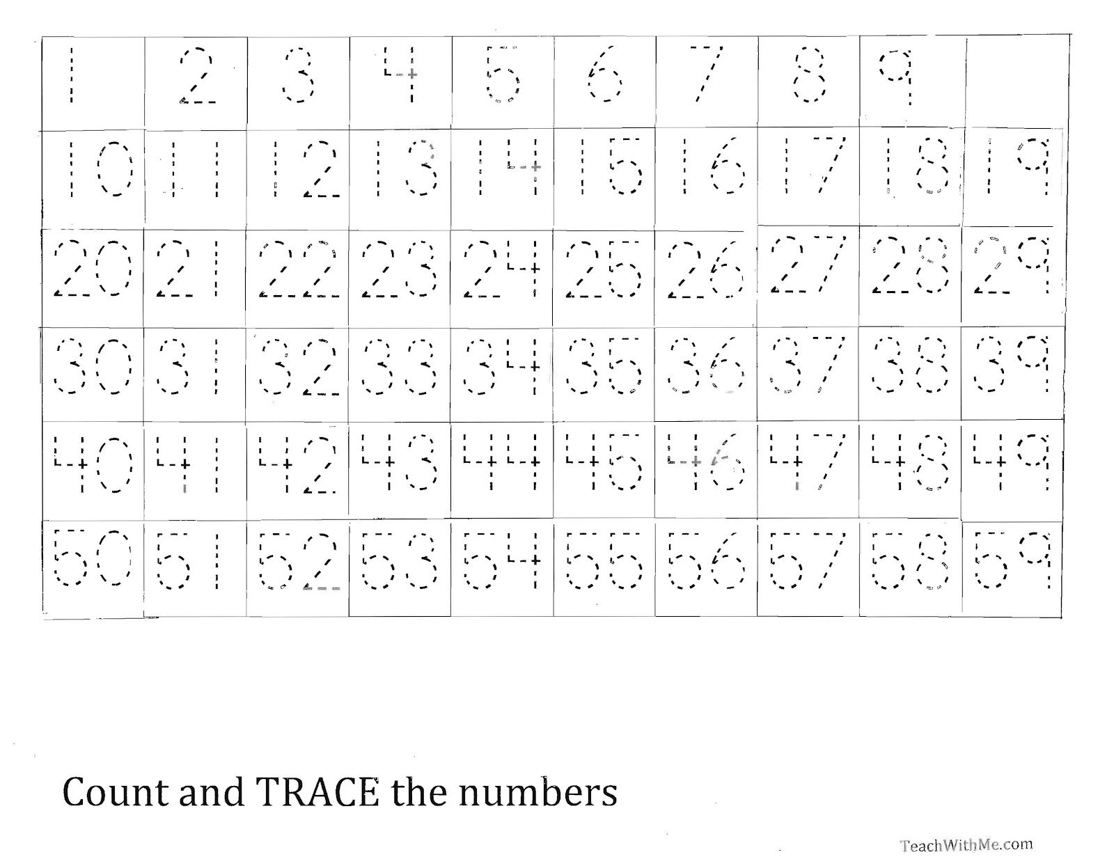 Trace The Number 1 59 Worksheet