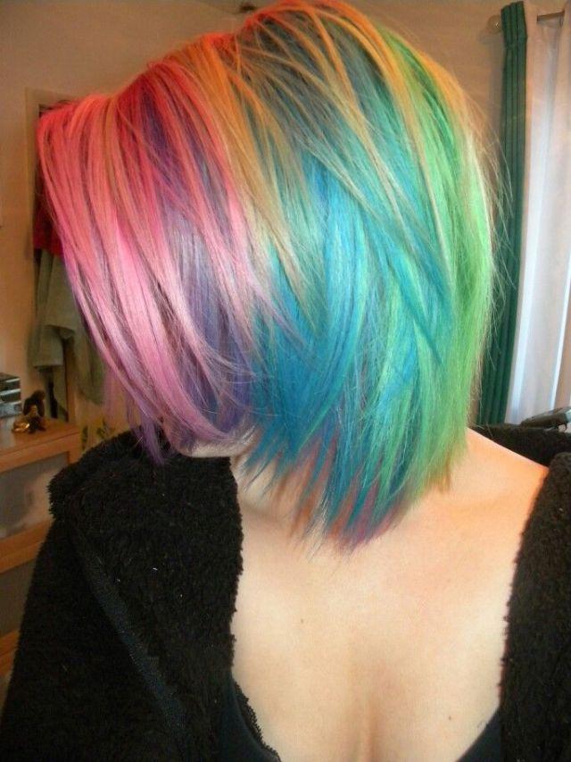 25 beautiful Short  rainbow hair  ideas on Pinterest