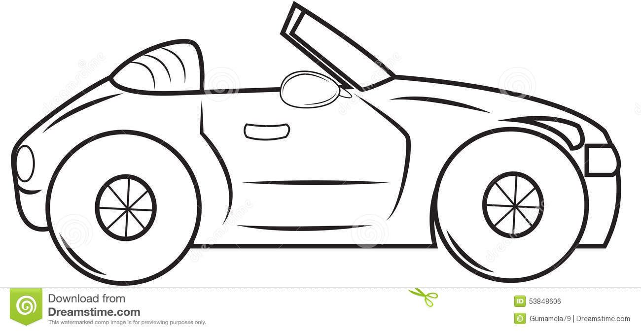 Convertible Car Coloring Page Useful As Book Kids 53848606