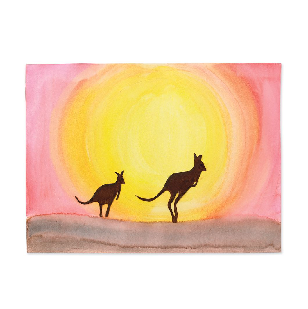 Australia Outback Sunset Painting This Would Be Awesome With Any Animal Silhouette