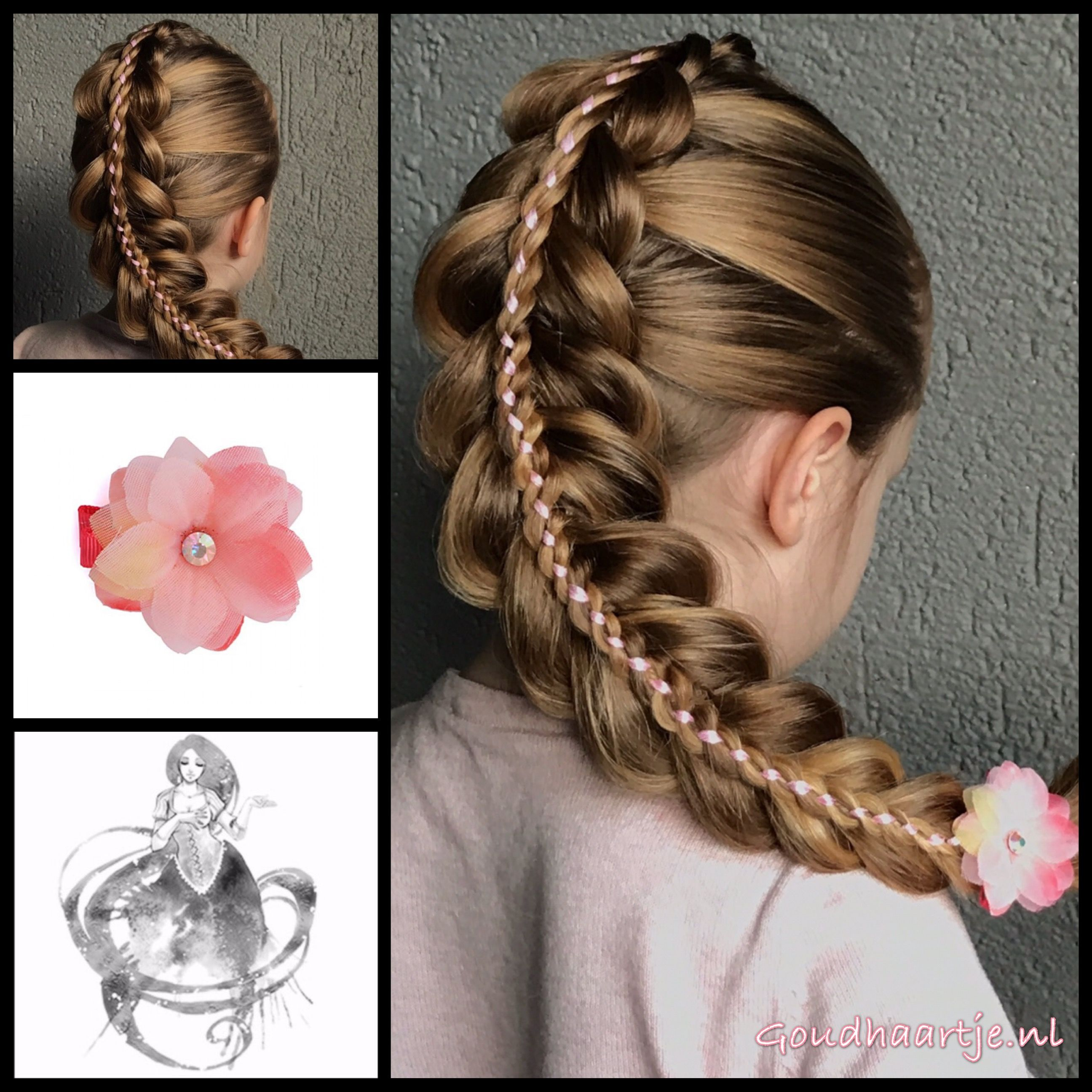 Stacked ribbon braid with a lovely flower from the webshop