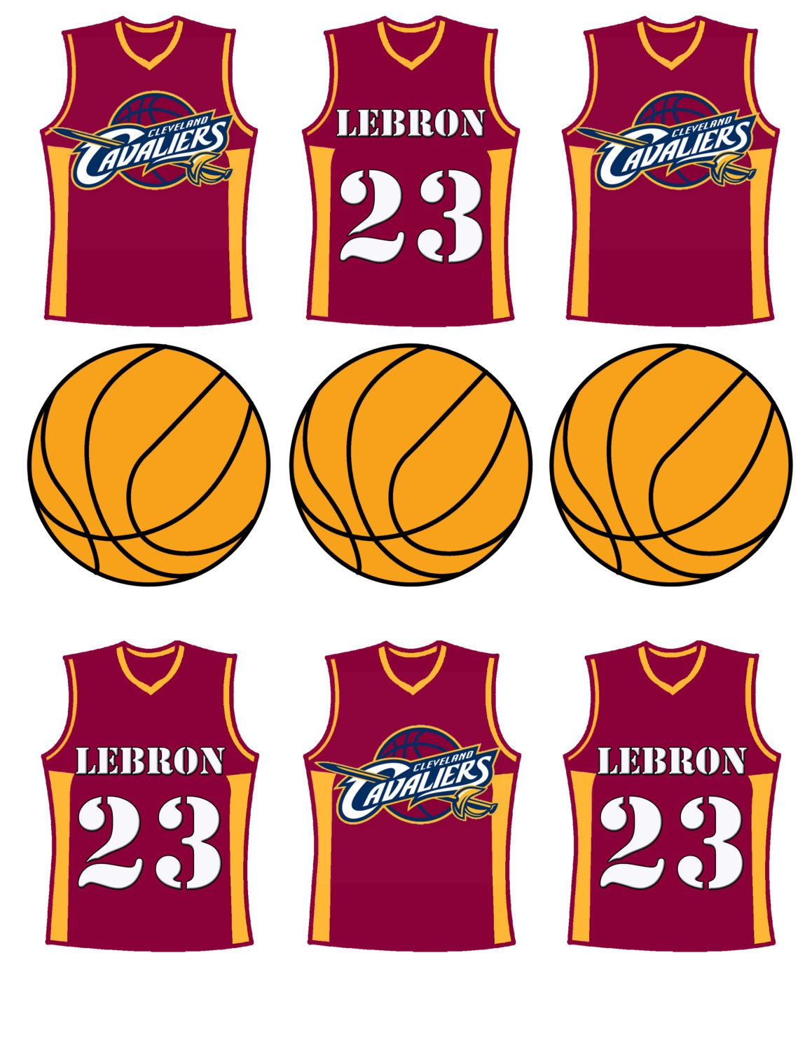 Cleveland Cavaliers Basketball Cupcake Toppers By Decoratyourdoor