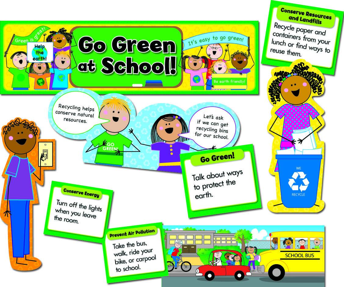 The Go Green At School Mini Bulletin Board Set Helps