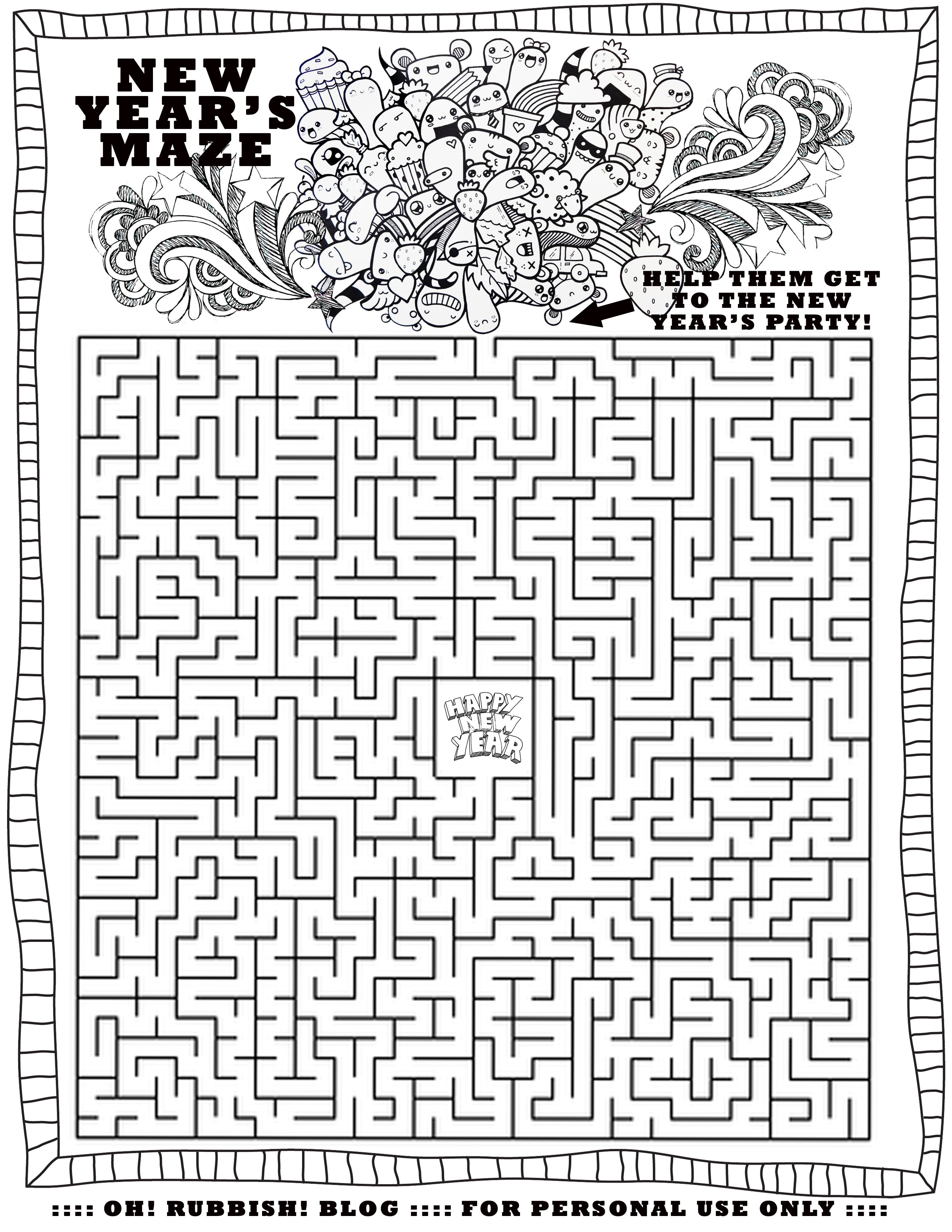 Happy New Year Maze By Oh Rubbish Blog