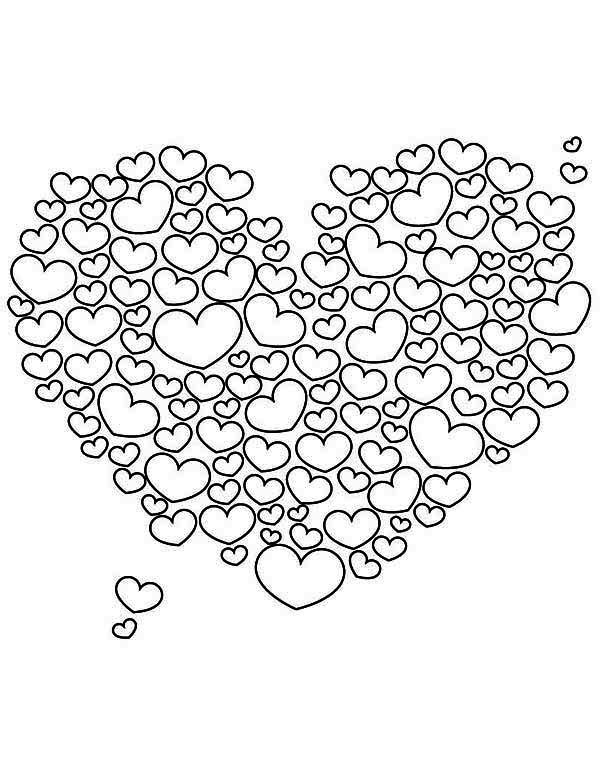 Valentine S Day A Giant Heart Shaped Cloud On Coloring Page