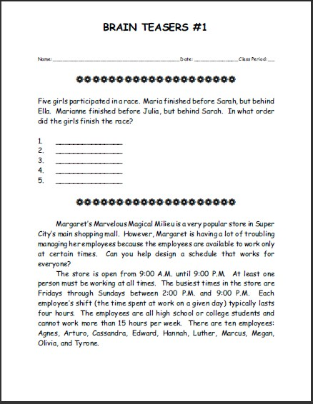 Free Printable Brain Teasers Puzzle 1 Student Handouts