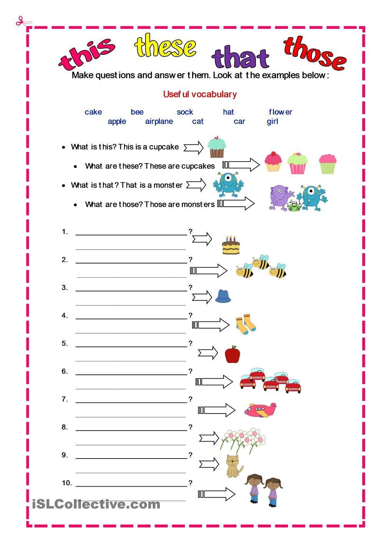 DEMONSTRATIVES Grammar Pinterest English class