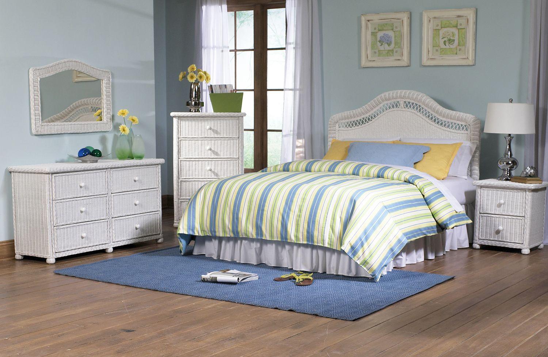 Elana Wicker Bedroom Set of 5 Wicker bedroom, White