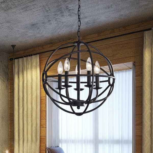 Benita 5 Light Antique Black Metal Strap Globe Chandelier Bronze Iron