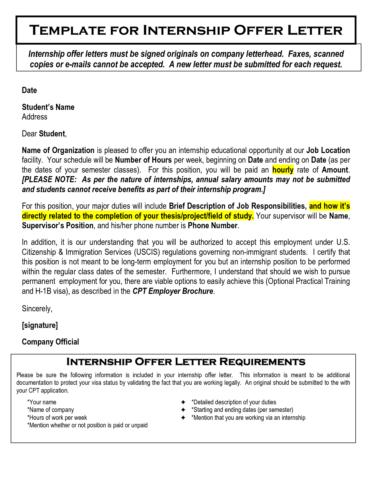 Printable Sample Offer Letter Template Form Laywers