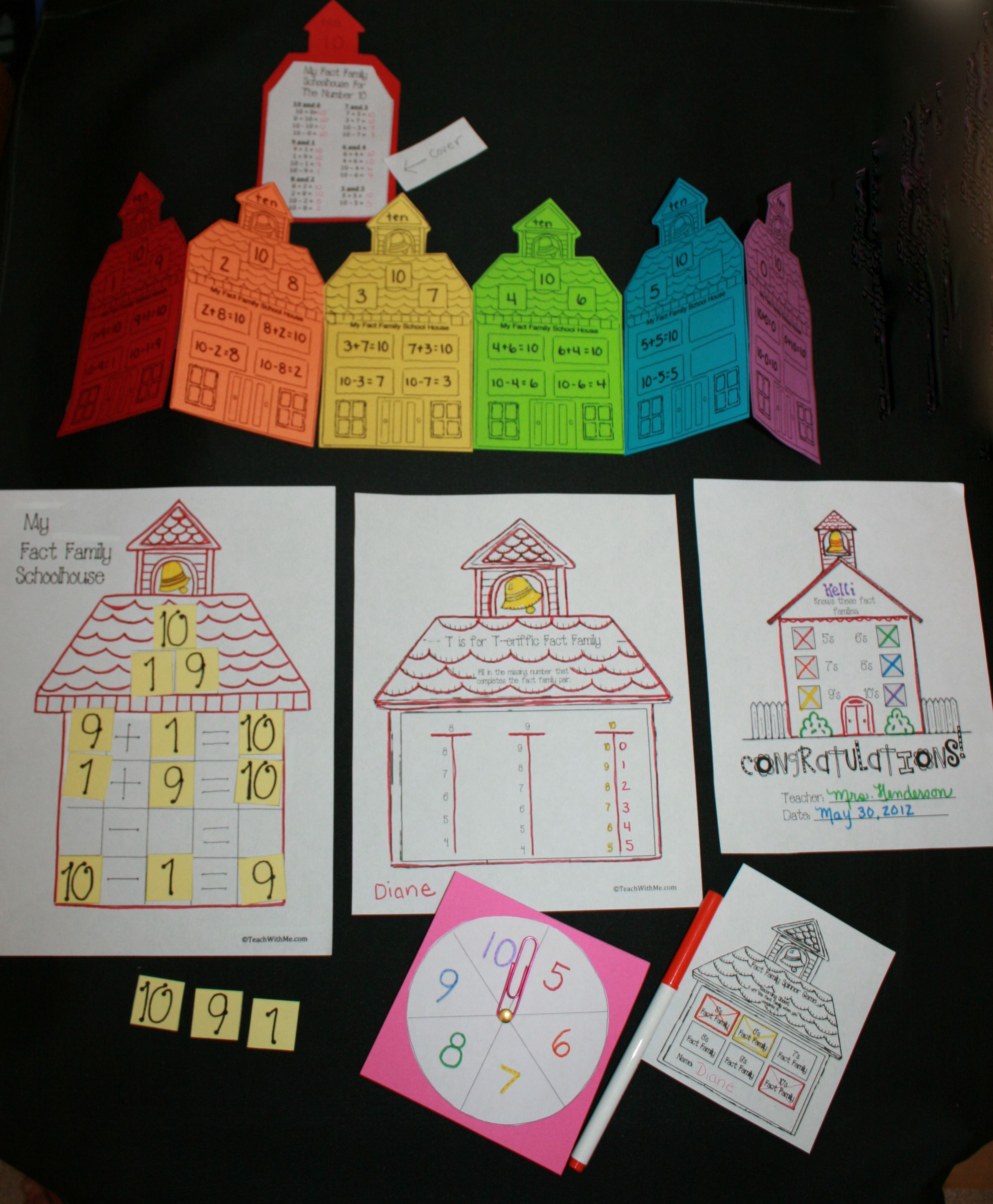 Free Fact Family Schoolhouse Craftivity Spinner Game And Skill Sheet Packet Makes Reviewing