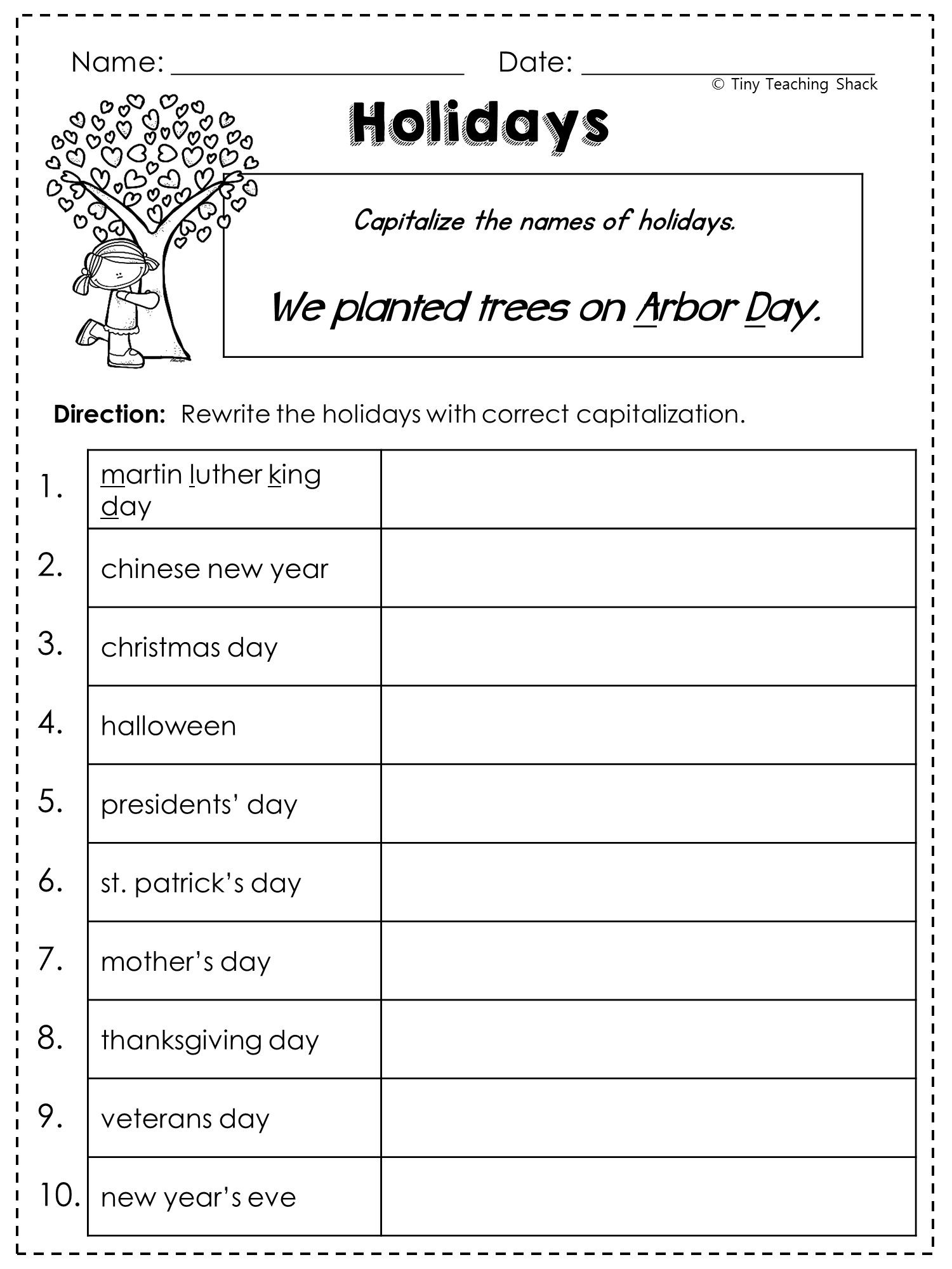 Free Capitalization Worksheet