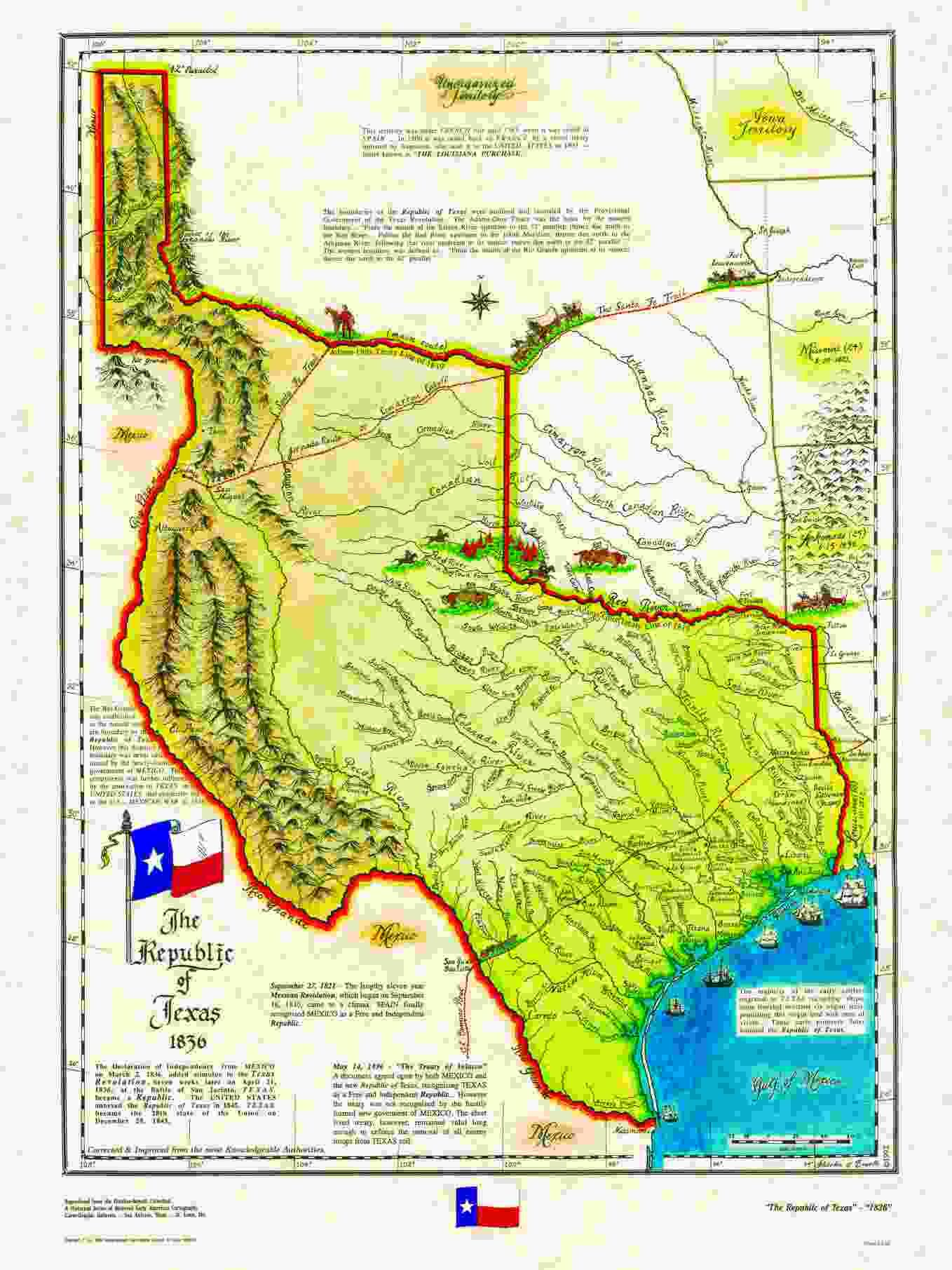 An Map Of The Republic Of Texas Via Historical