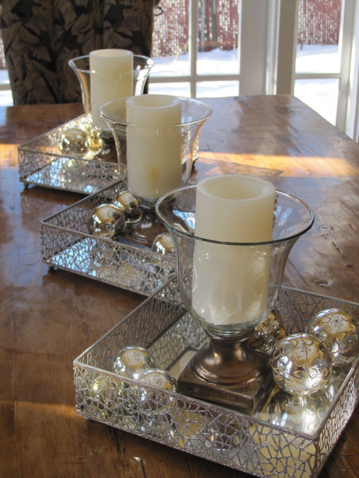 dining table decor for christmas!! I'd throw in some spray