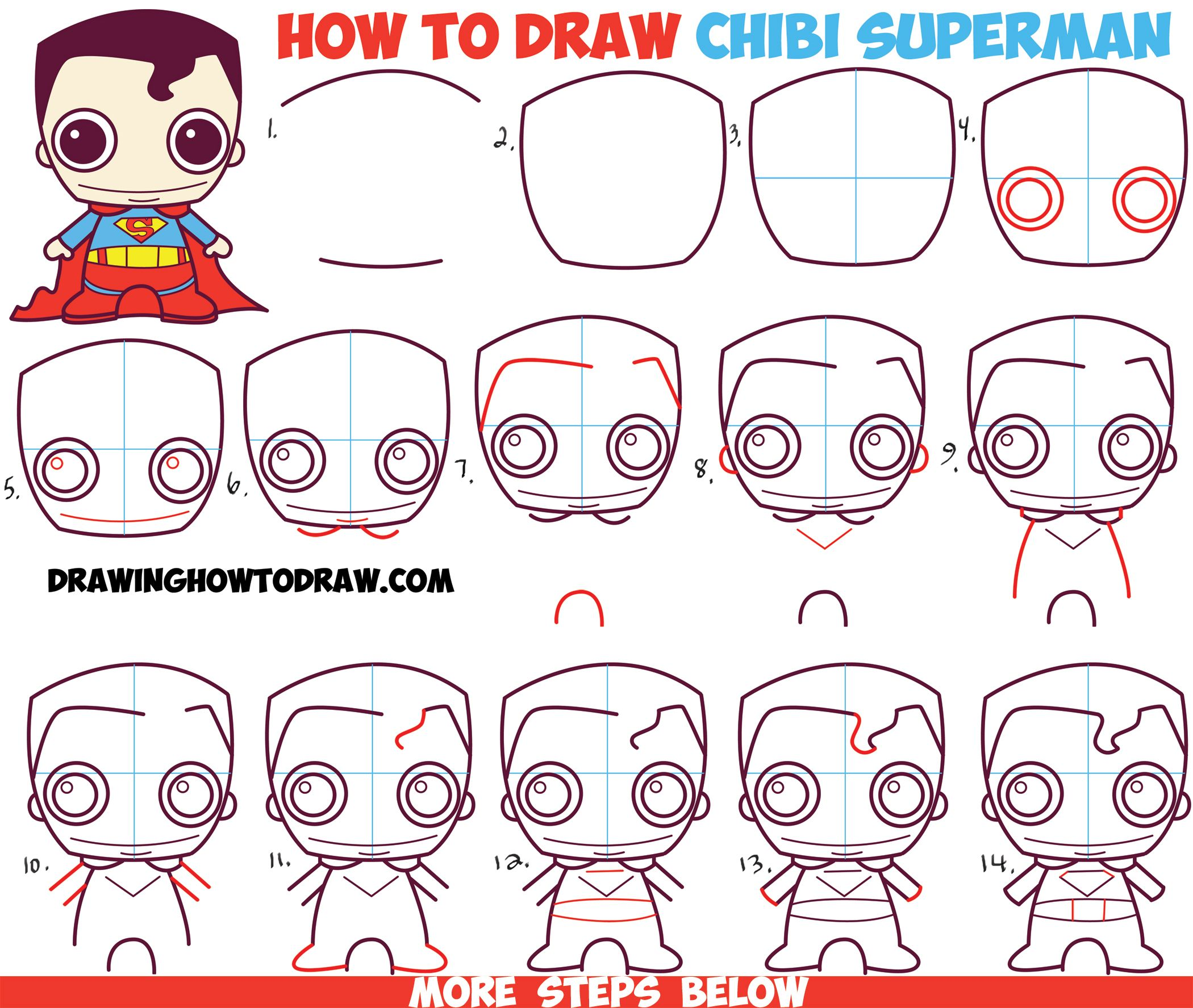 How to Draw Cute Chibi Superman from DC ics in Easy Step by Step