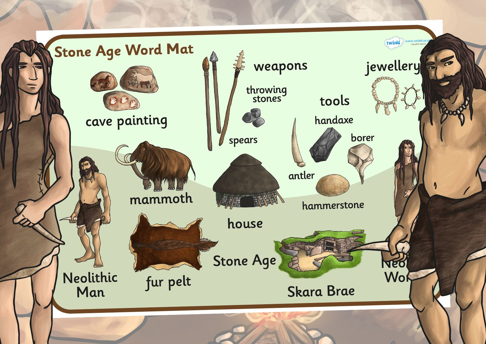 Ks2 The Stone Age Stone Age Word Mat