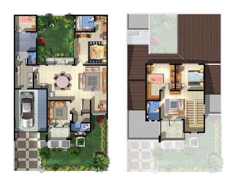 Denah Rumah Minimalis Modern Type 36 2 Lantai Desain Denah Rumah
