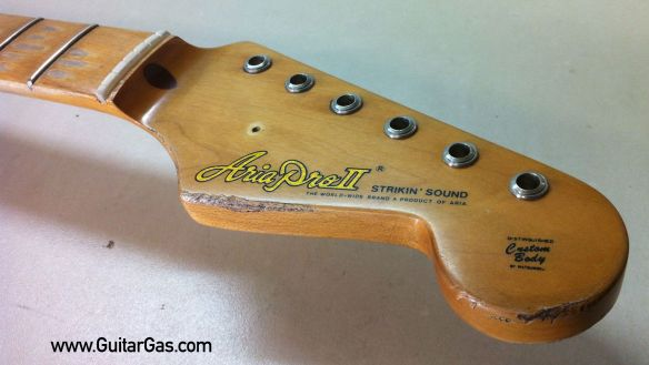 Aria Pro II Strikin Sounds Relic Project Headstock Bottom Edge