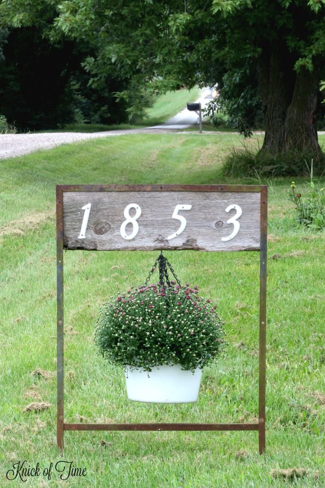House Numbers Sign Hanging Planter Rustic house numbers