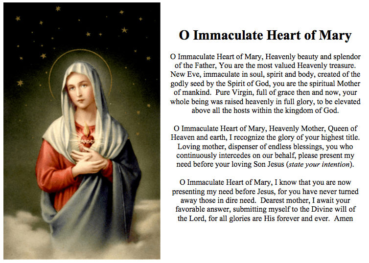 O Immaculate Heart of Mary Prayer Card Catholicism