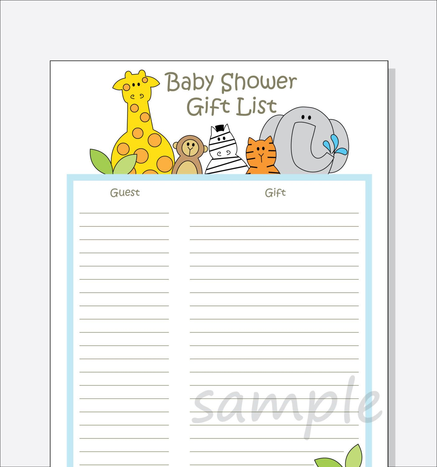 Diy Baby Shower Guest T List Printable By
