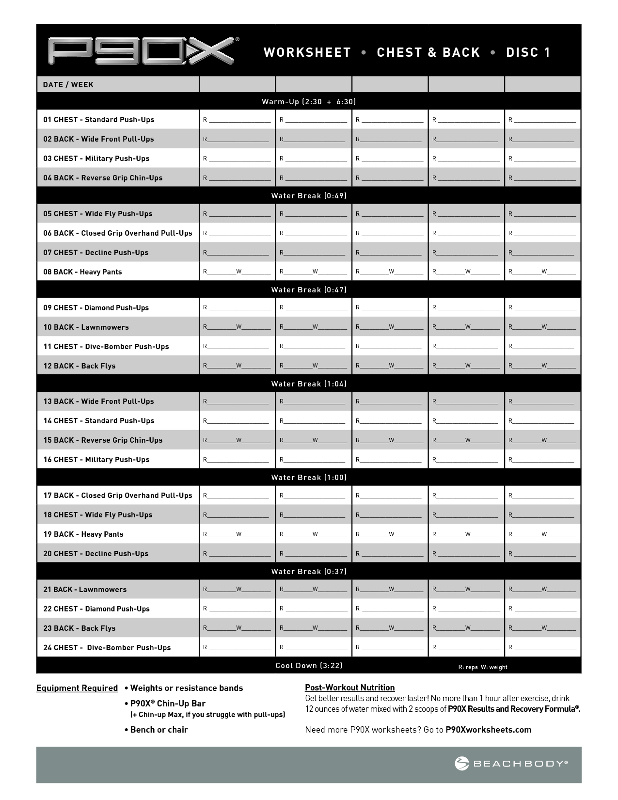 Printable Sample P90x Workout Schedule Form