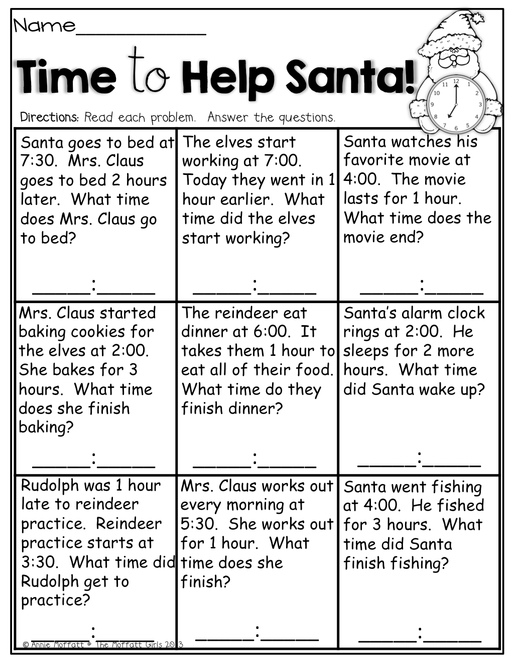 Time To Help Santa Simple Word Problems About Time So