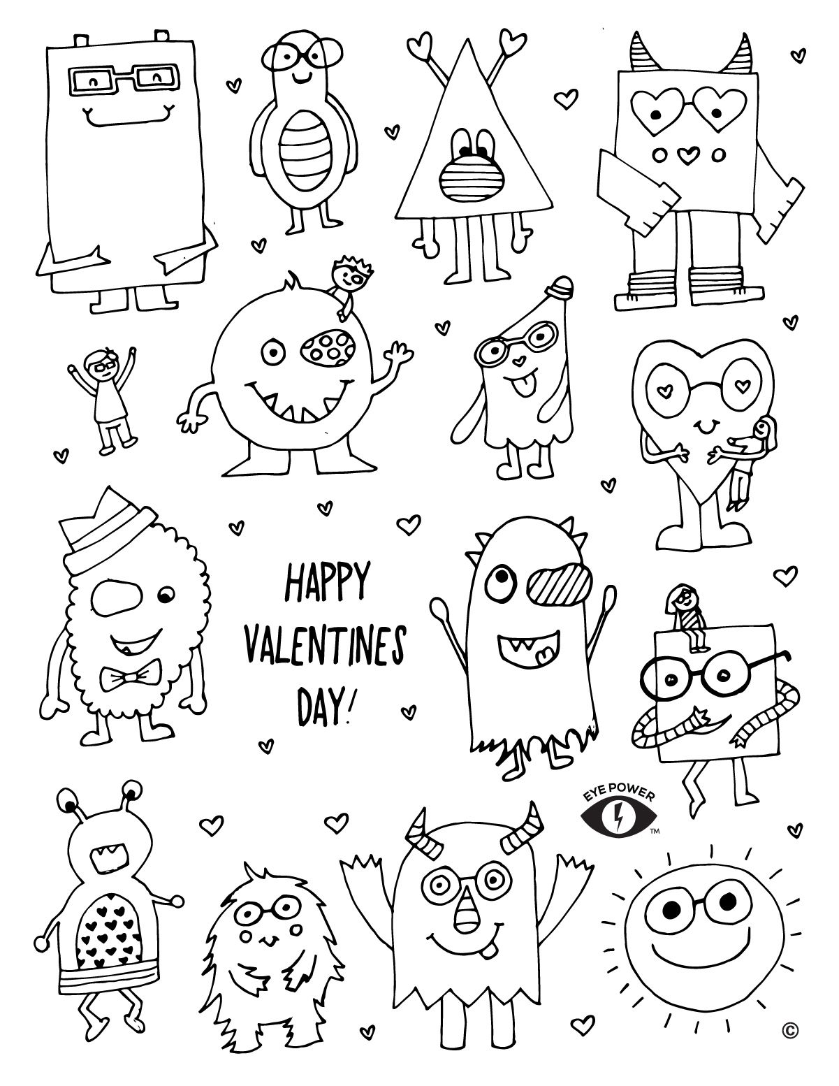 Free Valentines Coloring Pages For Kids In Glasses Or Eye Patches
