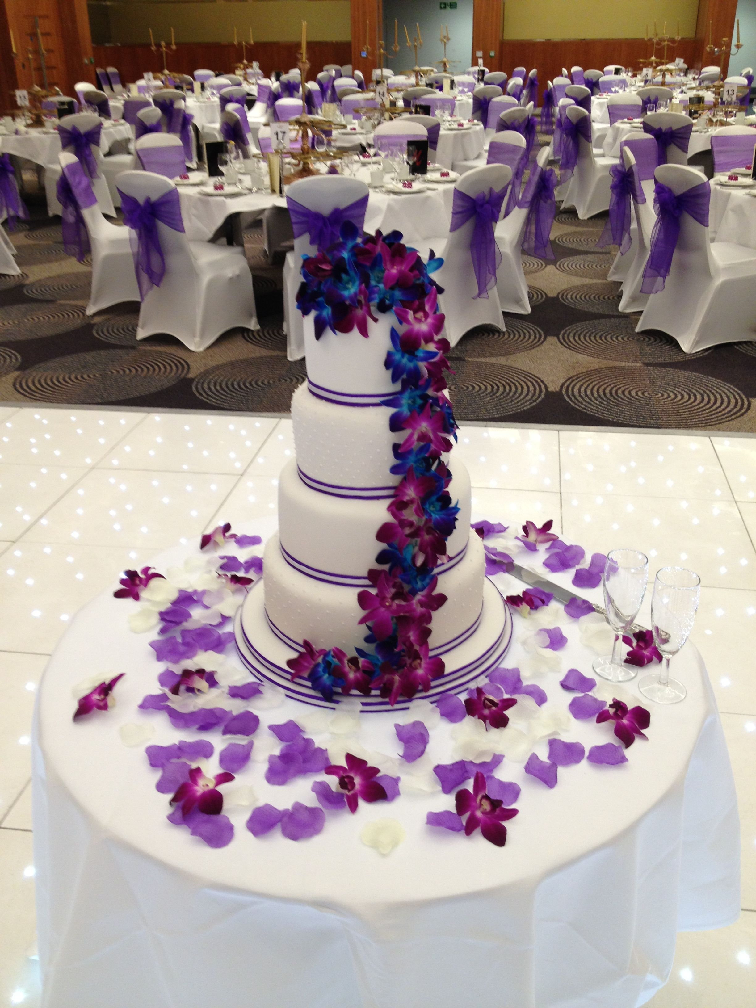 Royal Blue And Purple Wedding Cake