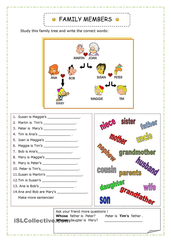 Family inglés niños Pinterest English, Worksheets