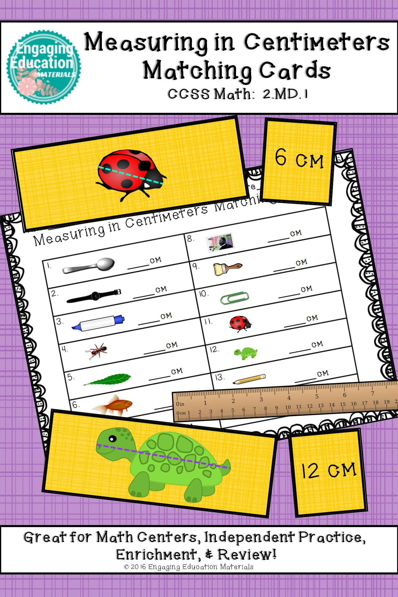 Measuring In Centimeters Matching Cards And Recording