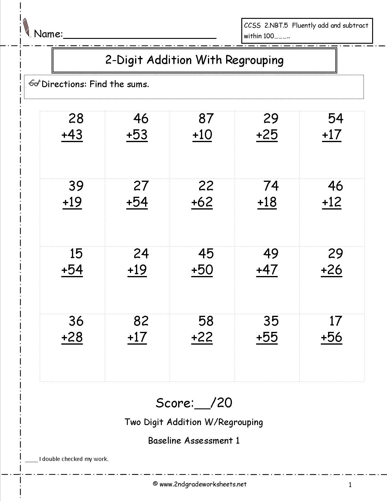 Two Digit Addition With Regrouping Assessment