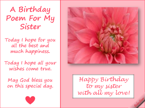 A Birthday Poem For My Sister. GAMES Pinterest