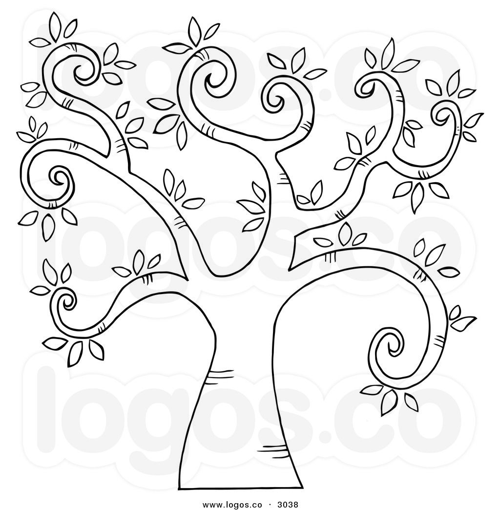 black and white trees Free Vector of a Black and