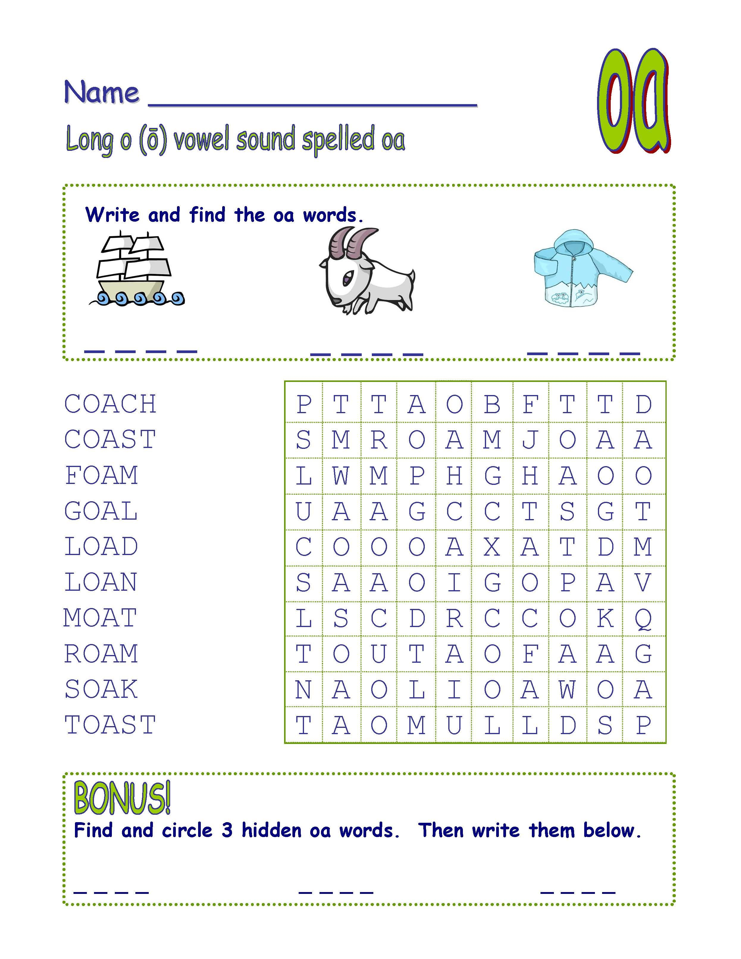 Digraph Long Vowel O Spelled Oa Amp Ow Word Search Fun
