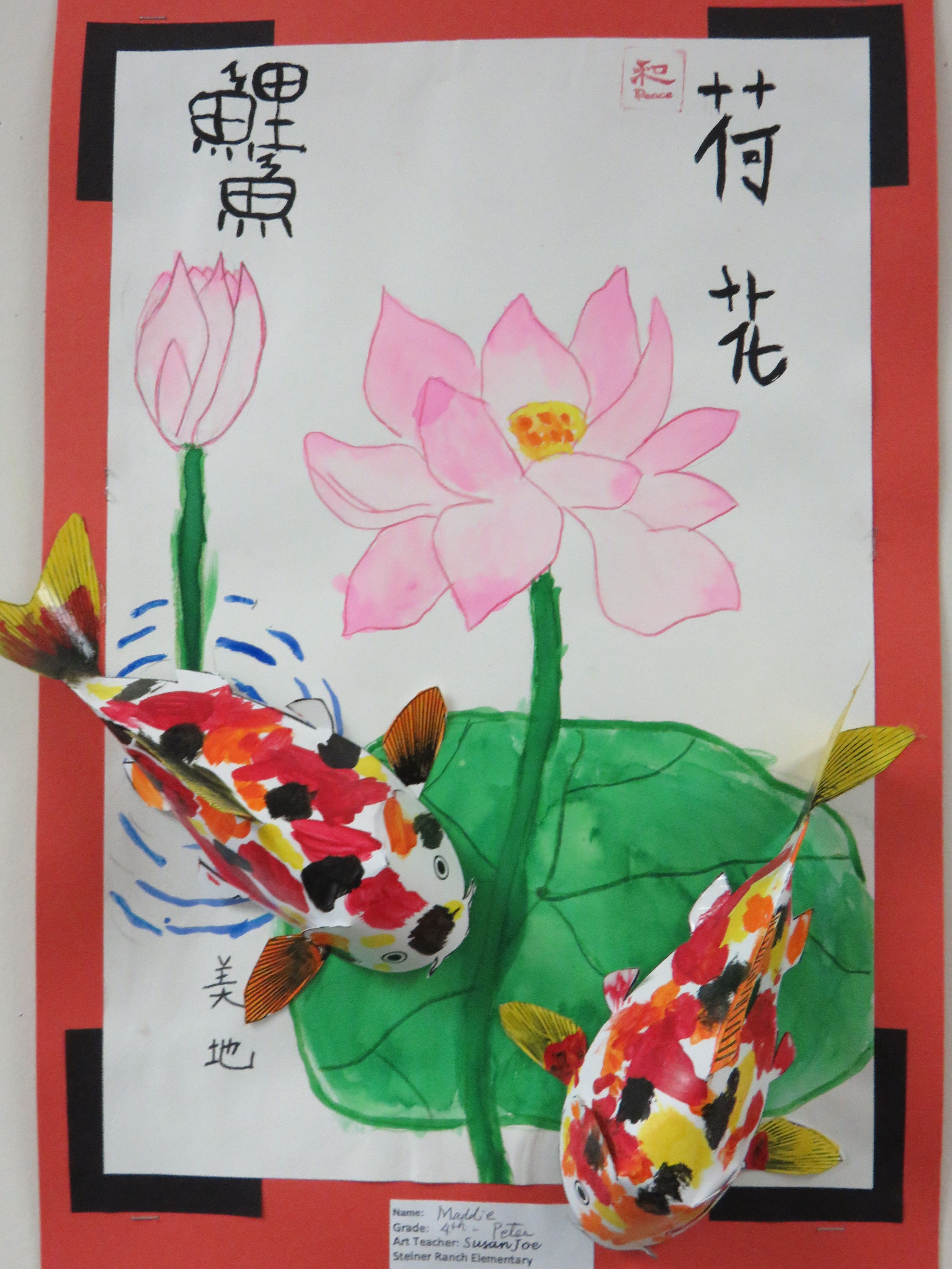 4th Grade 3d Paper Koi Fish With Lotus Flower Background
