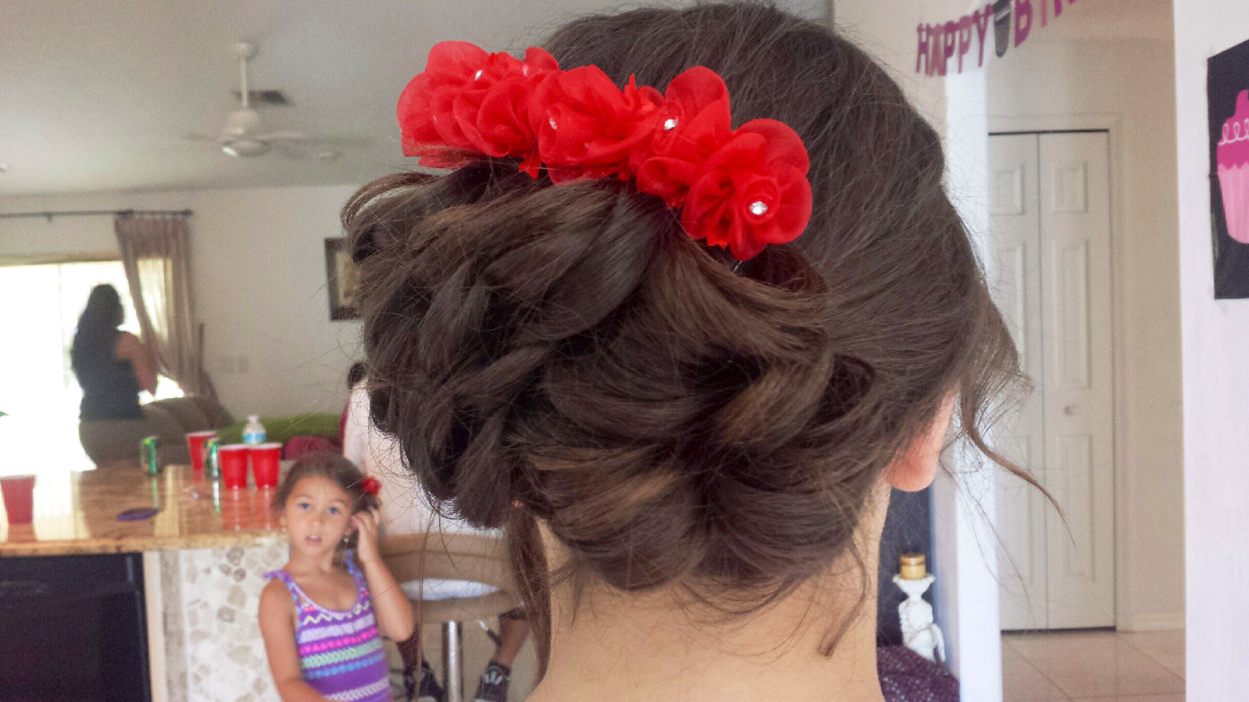 Flower girl hair brown hair curly updo wedding flowers