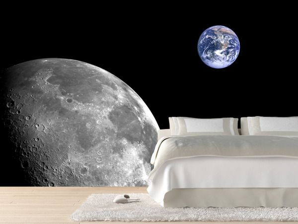 moon & earth wallpaper | space-robot bedroom designs | pinterest