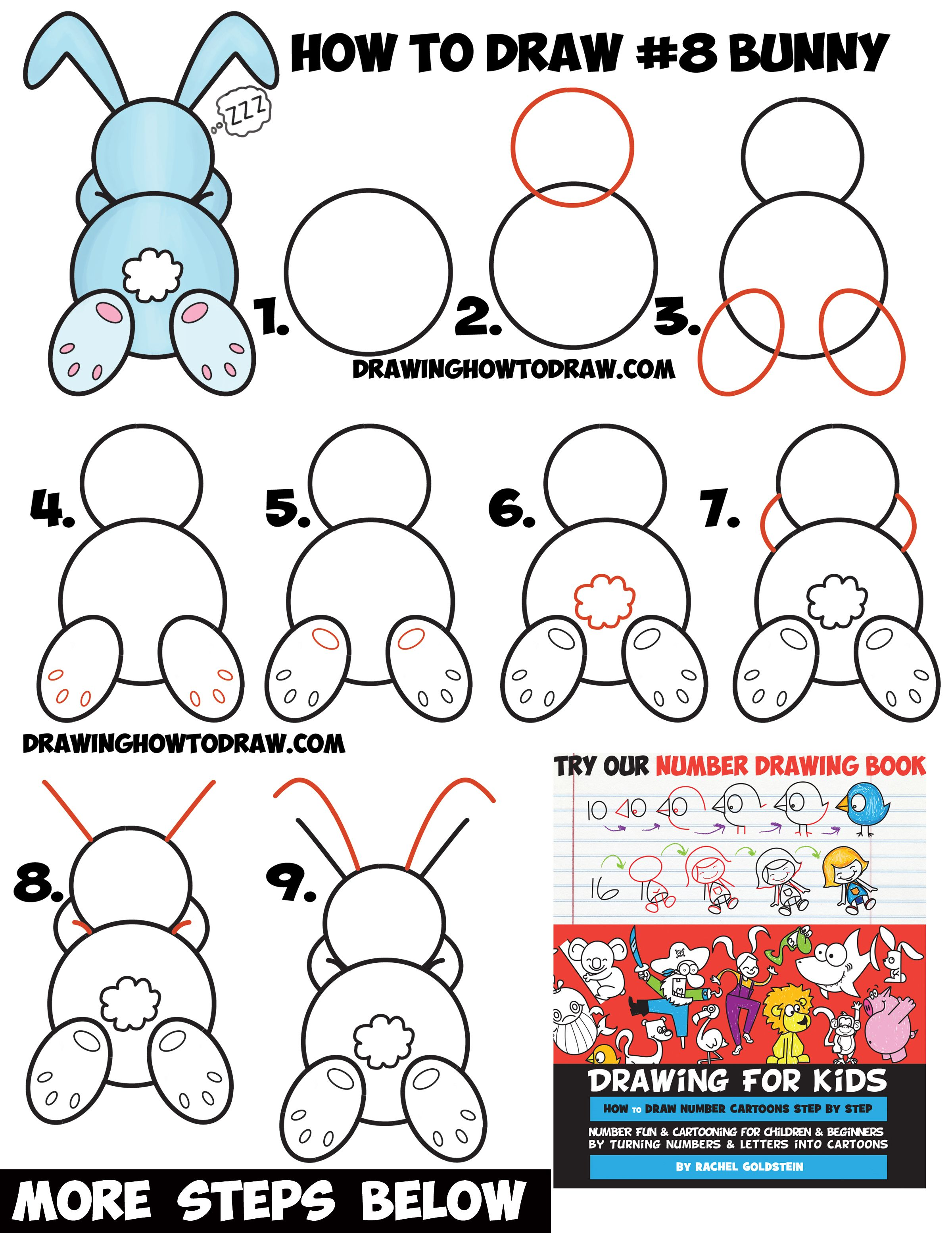 How to Draw a Cute Cartoon Sleeping Bunny Rabbit from 8