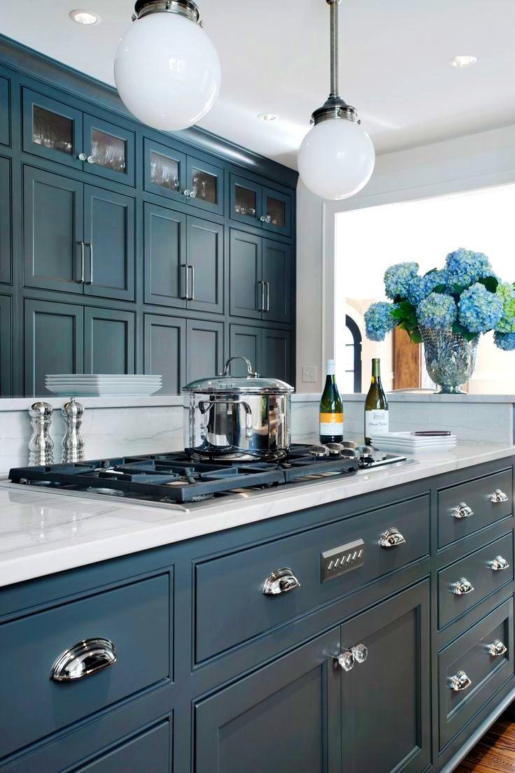 Image result for blue grey cottage kitchen