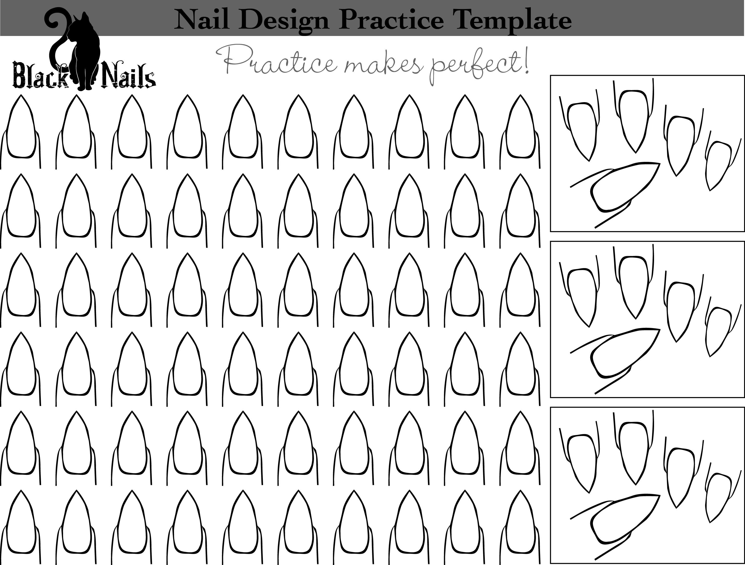 Stiletto Nail Art Design Practice Sheet