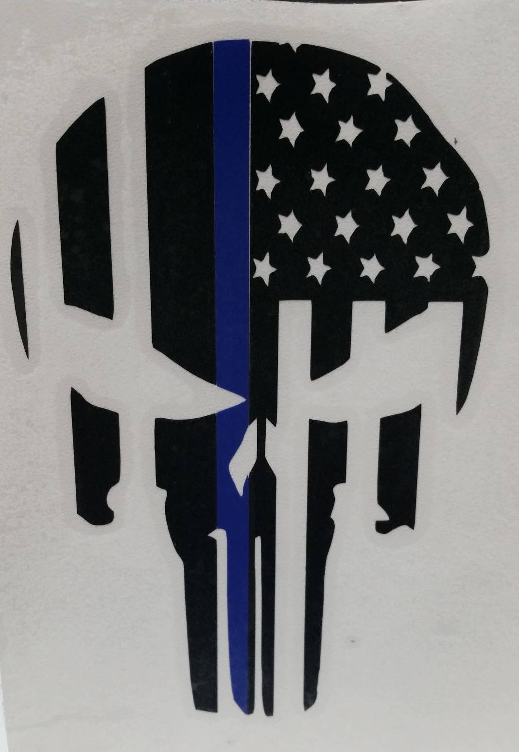 Thin Blue Line Punisher Skull / American Flag / Support