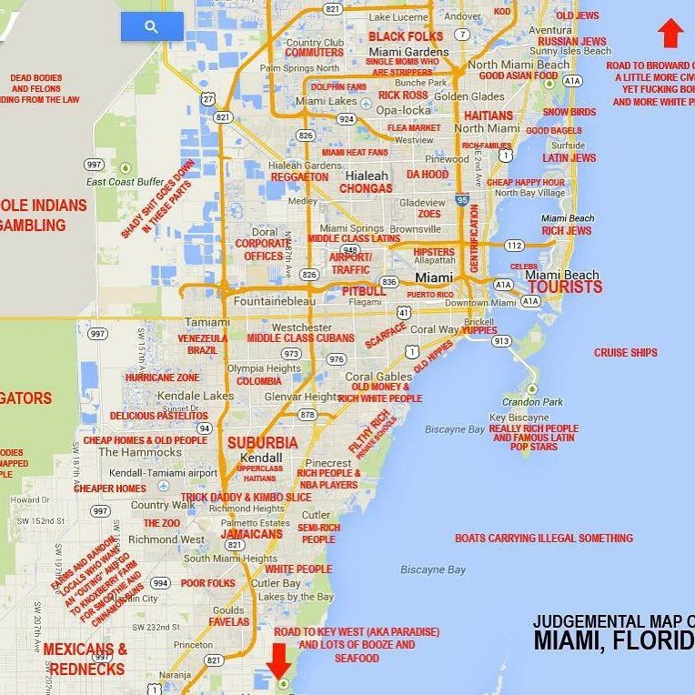 This map of Miami neighborhoods and stereotypes associated