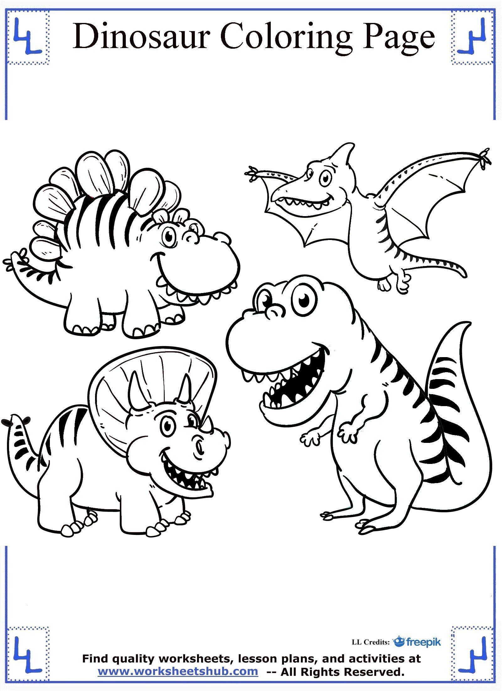 Cartoon Dinosaurs Coloring Page