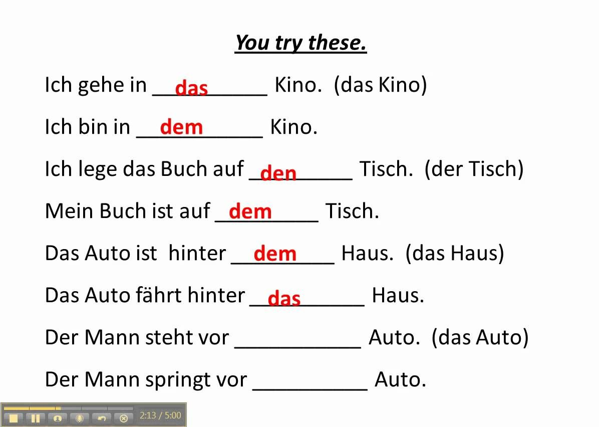 Work With Accusative And Dative Prepositions In German