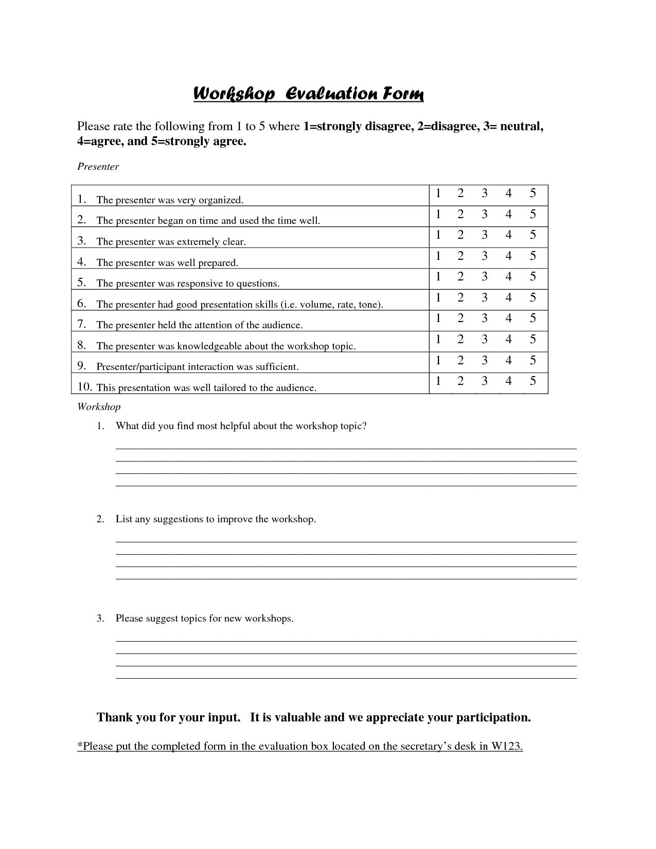 Workshop Evaluation Form Template