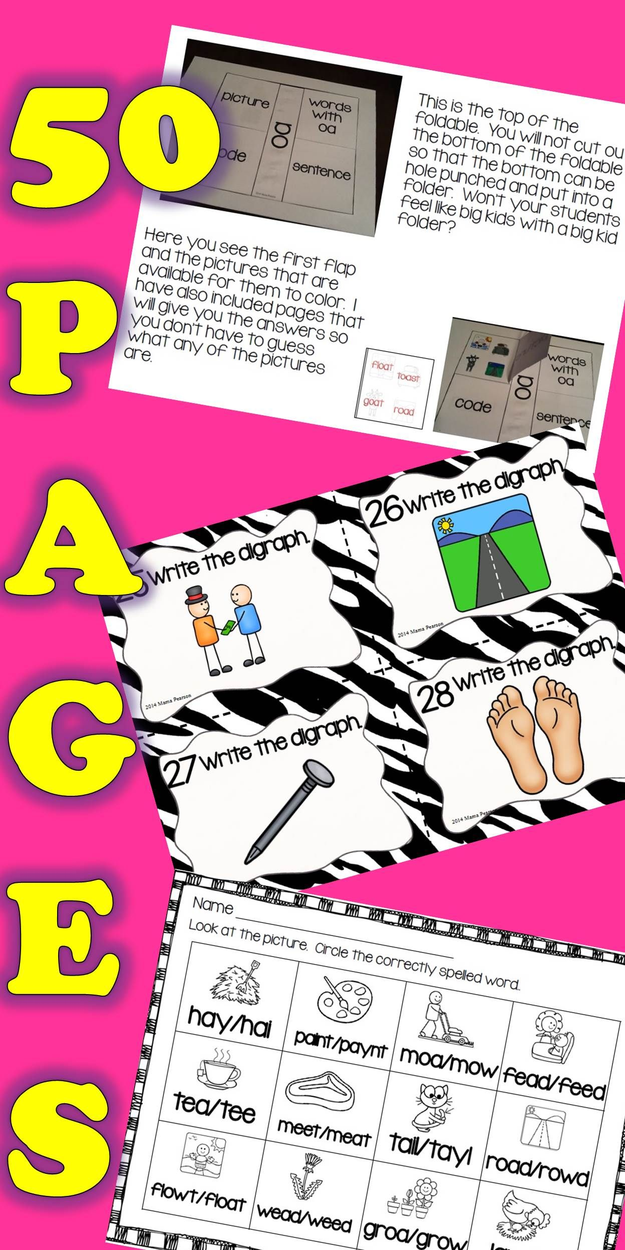 No Prep Vowel Digraphs Printables With Interactive Journal