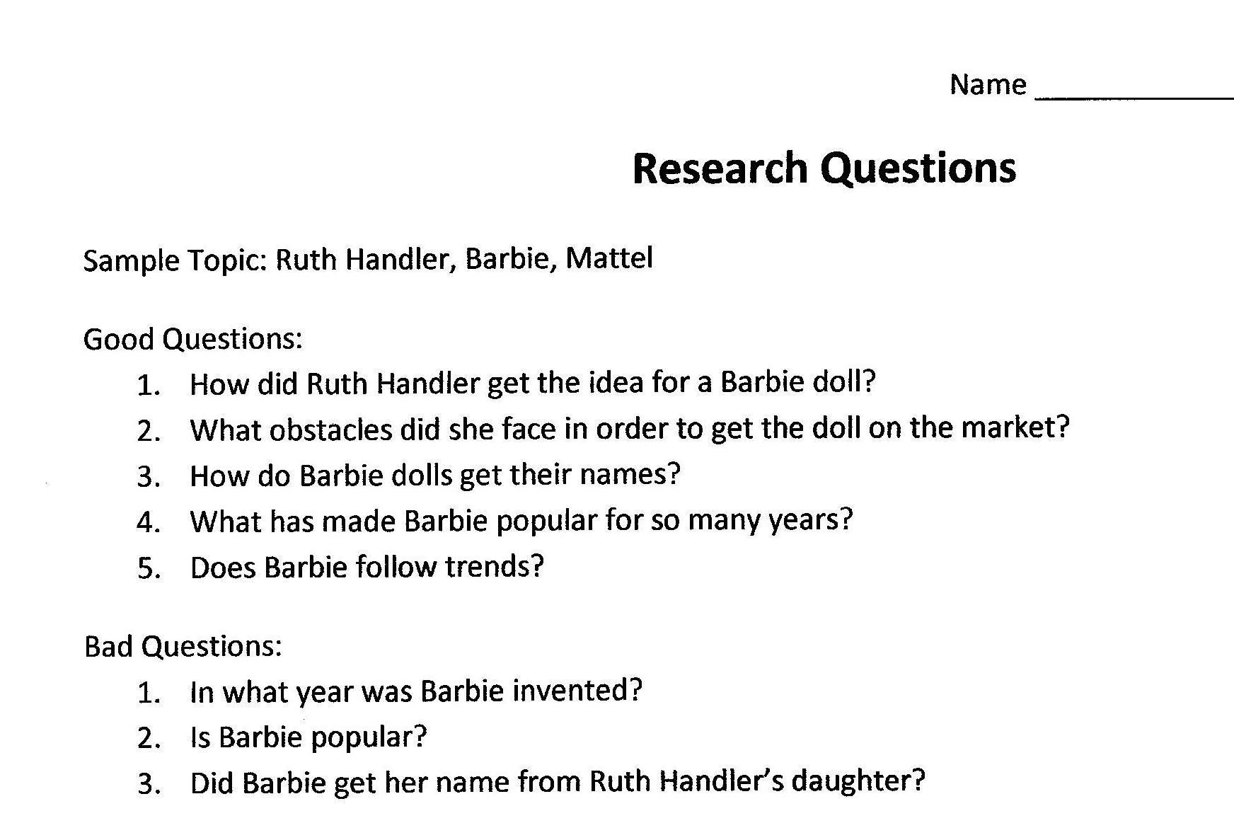 Inquiry Research Paper Topics