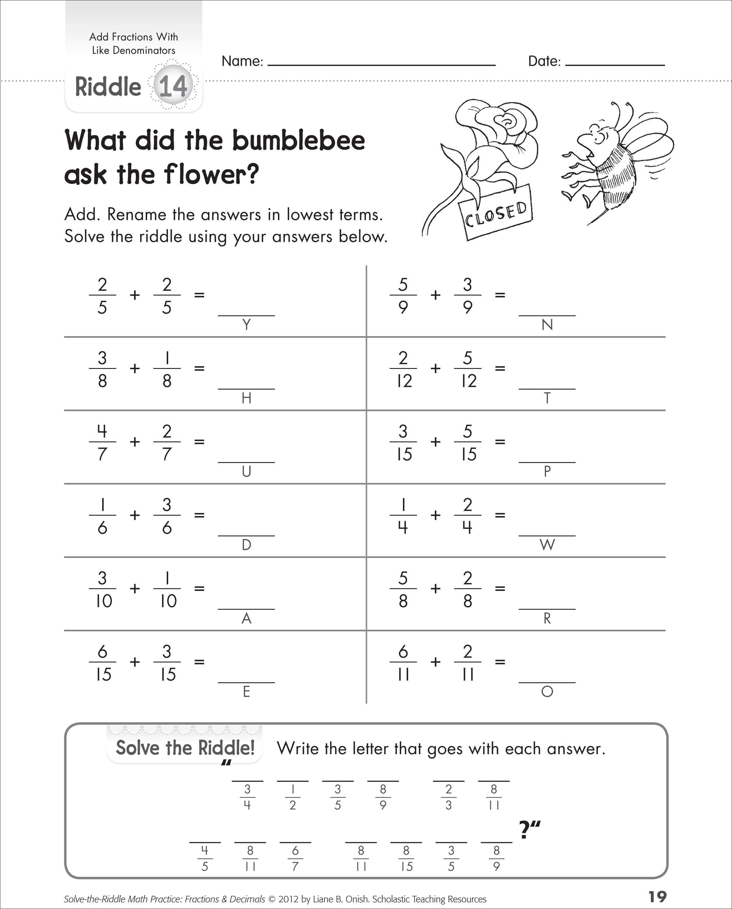 Adding Fractions With Same Denominators Worksheets